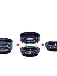 apexel 5 en 1 hd kit de lentille de la caméra 198fisheye lens0.63x large angle15x macro lens2x téléobjectif lenscpl pour iphone 7 6 / 6s 6