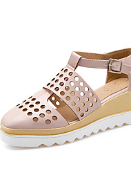 Damen Sandalen Pumps Lackleder Sommer Normal Kleid Pumps Ausgehöhlt Tupfen Keilabsatz Silber Beige Rosa Mandelfarben 5 - 7 cm