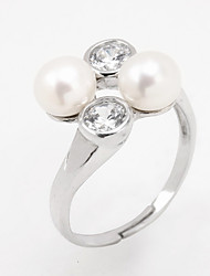 Women's Ring Imitation Pearl Fashion Adjustable Open Silver Pearl Imitation Pearl Jewelry For Daily Casual