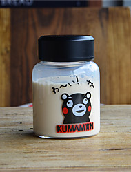 Transparent Cartoon Outdoor Drinkware, 150 ml Portable BPA Free Glass Juice Milk Water Bottle
