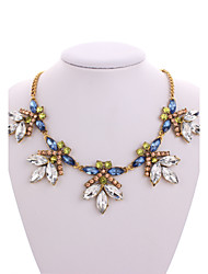 Europe and the United States temperament luxury retro exaggerated the crystal that mix colour gems clavicle chain necklace 0268 #