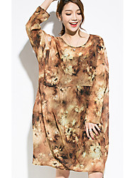Women's Going out Holiday Vintage Boho Loose Chiffon DressFloral Ruffle Round Neck Knee-length Long Sleeve Polyester Brown Spring Summer