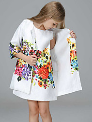 Sleeveless Dress Jacquard Printing Plus 7 Minutes Of Sleeve Of Your Coat 2 Sets Of The Girls