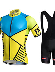 fastcute Cycling Jersey with Bib Shorts Men's Short Sleeve BikeBreathable Quick Dry Moisture Permeability Lightweight Materials 3D Pad