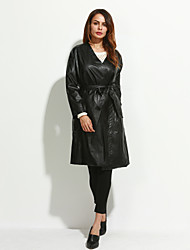 Women's Plus Size / Casual/Daily / Party/Cocktail Cute / Punk & Gothic / Sophisticated Fur Coat,Solid Shirt Collar Long Sleeve WinterRed