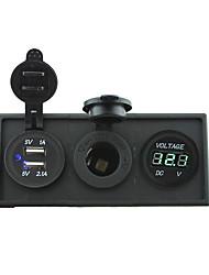 12v / 24v puissance port charger3.1a USB et 12v jauge de voltmètre avec panneau de support de logement pour camion bateau de voiture rv