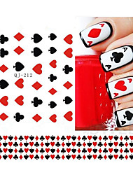 1 Sheet Nail Art Stickers Nail Water Transfer Poker Aces Nail Tips Decals Decoration DIY Watermark Manicure Tools