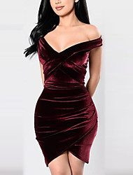 Women's Going out Formal Sexy Simple Sheath Dress,Solid Round Neck Above Knee Long Sleeve Cotton Acrylic Red Beige Black All SeasonsHigh