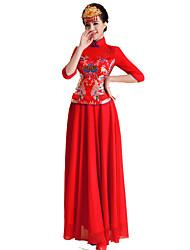 Lolita Clássica e Tradicional Inspiração Vintage Elegant Cosplay Vestidos Lolita Estampado Comprimento Longo Vestido Para Terileno