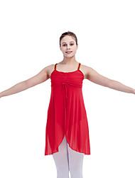 Ballet Dresses Women's Children's Performance Cotton Lycra Mesh Pleated Sequins Splicing 1 Piece Sleeveless Dress
