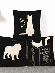 3pcs Cute Black Cat Pillowcase Home Decor Pillow Cover