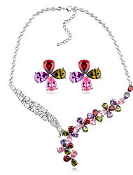 Jewelry 1 Necklace 1 Pair of Earrings AAA Cubic Zirconia Party Zircon 1set Women Gold White Multi Color Wedding Gifts