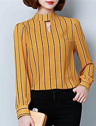 Spring Fall Women Chiffon Shirt Round Neck Long Sleeves Stripe Slim Blouse Tops