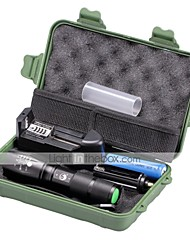 U'King ZQ-G7000-Black#2-US CREE XML-T6 2000LM Portable Zoom Flashlight Torch Kit 5Modes with Battery and Charger