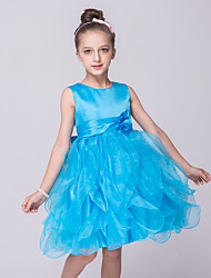 Princess Floor-length Flower Girl Dress - Satin Tulle Jewel with Bowknot Sequin Ribbon Tie