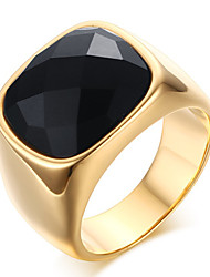 Men's Fashion Vintage Stainless Steel Engraved Personality Agate Jewelry Onyx Gold Plating Rings Casual/Daily/Party 1pc