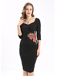 Maxlindy Women's Embroidery Going out Casual/Daily Work Vintage Bodycon Dress
