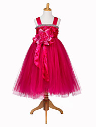 Princess Tea-length Flower Girl Dress - Tulle Polyester Sleeveless Straps with Flower(s)