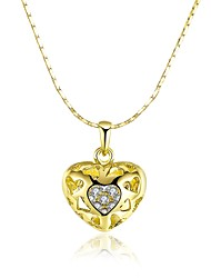 Women's Pendant Necklaces AAA Cubic Zirconia Zircon Gold Plated Alloy HeartUnique Design Dangling Style Rhinestone Heart Euramerican