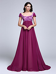 TS Couture Dress - Open Back A-line Scoop Court Train Chiffon with Appliques Sequins