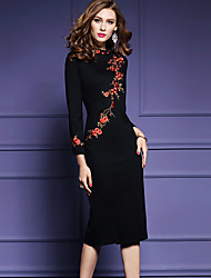 Women's Plus Size Going out Chinoiserie Bodycon Dress,Embroidered Split Round Neck Midi Long Sleeve Polyester Black Spring Fall Mid Rise