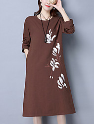 Women's Casual/Daily Street chic Loose Dress Print Round Neck Midi Long Sleeve Cotton /Linen Black /Brown Spring /Fall