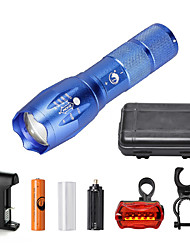 U'King ZQ-G7000-Blue#3-US CREE XML-T6 2000LM Portable Zoom Flashlight Torch Kit 5Modes with 1*Battery and Charger