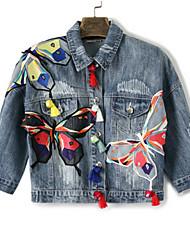 Feminino Jaqueta jeans Para Noite Simples Outono Primavera,Estampado Secar no Plano Lavar do Avesso Algodão Colarinho Chinês-Manga Longa