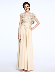 Sheath / Column Straps Ankle Length Chiffon Lace Mother of the Bride Dress with Lace Ruching by LAN TING BRIDE®