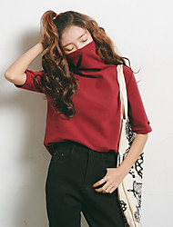 March 5 shipping model Sign Brushed cotton loose big yards bottoming high-necked t-shirt women