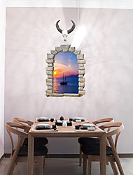 Vintage 3D Sea Sunset Wall Stickers Creative False Window Design 3D Wall Stickers Removable Wall Decals