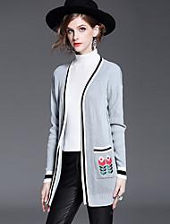 Damen Druck Einfach Lässig/Alltäglich Pelzmantel,Frühling Winter V-Ausschnitt Langarm Auf Links waschen Trocknen Standard Baumwolle
