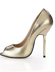 Women's Heels Summer Comfort PU Wedding Party & Evening Dress Stiletto Heel Black Silver Gold