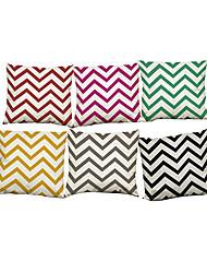 Set of 6 Modern simple wave pattern  Linen Pillowcase Sofa Home Decor Cushion Cover