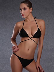 Women Bikini Swimwear Solid color Swimwear  Large Size Swimsuit Thin Paragraph Swimsuit  / Black