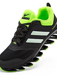 Femme-Sport-Jaune Noir blanc-Talon Plat-Soles lumière-Chaussures d'Athlétisme-Cuir