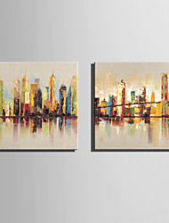 Mini Size E-HOME Oil painting Modern Riverside City Building Pure Hand Draw Frameless Decorative Painting