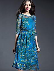 Damen Chiffon Kleid-Ausgehen Lässig/Alltäglich Street Schick Blumen Rundhalsausschnitt Knielang ½ Länge Ärmel Blau Seide FrühlingHohe
