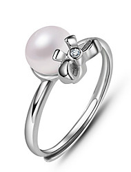 Women's Ring Imitation Pearl Adjustable Open Silver Pearl Imitation Pearl Jewelry For Daily Casual