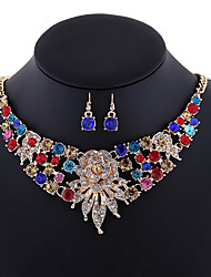 Europe and the United States exaggerated diamond necklace fashion flower lady big Necklace 0190# alloy