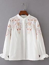 Feminino Camisa Social Para Noite Praia Férias Simples Fofo Temática Asiática Primavera,Bordado Azul Branco Poliéster Colarinho Chinês