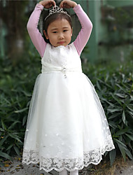 A-line Tea-length Flower Girl Dress - Cotton Satin Tulle Sleeveless Jewel with Pearl Detailing