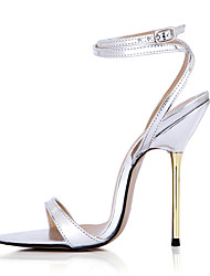 Women's Sandals Summer Ankle Strap PU Party & Evening Dress Stiletto Heel Gold Sliver