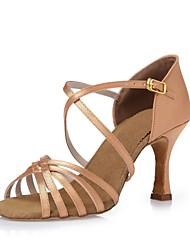 Keine Maßfertigung möglich-Stöckelabsatz-Satin-Latin Tanz-Turnschuh Modern Salsa Swing Schuhe-Damen