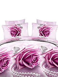 Mingjie 3D Reactive Purple Flower Bedding Sets 4 Pcs for Queen Size Contain 1 Duvet Cover 1 Bedsheet 2 Pillowcases from China