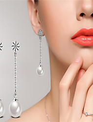 Fashion 925 sterling silver white pearl cubic zircon stud earrings bijoux de mariage pour femmes