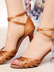 Customizable Women's Dance Shoes Latin Satin Customized Heel Black/Brown