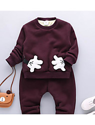 Unisex Casual/Daily Solid Sets,Cotton Spandex Winter Fall Long Sleeve Clothing Set