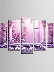 Canvas Set Landscape Floral/Botanical Classic European Style,Five Panels Canvas Any Shape Print Wall Decor For Home Decoration