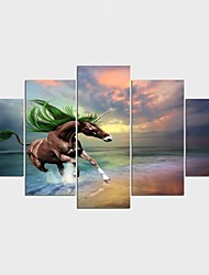 Stretched Canvas Print Animal Fantasy Modern,Five Panels Canvas Any Shape Print Wall Decor For Home Decoration